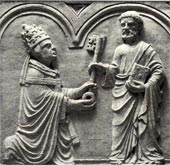 Pope Urban VI (1378–1389) receives the keys to his position of office from St. Peter.