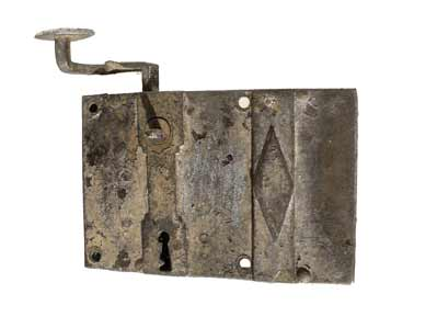 Door lock, rim lock (18th C).