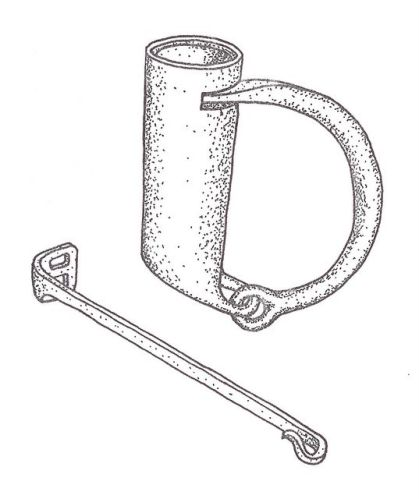 Padlock with arched swing shackle, springs, and key