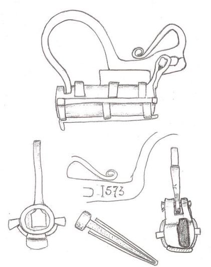 Sketch of a padlock with springs and hinged shackle, dated 1575
