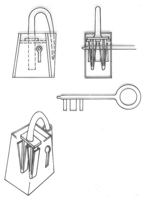 Viking-Era padlock with springs and turning key