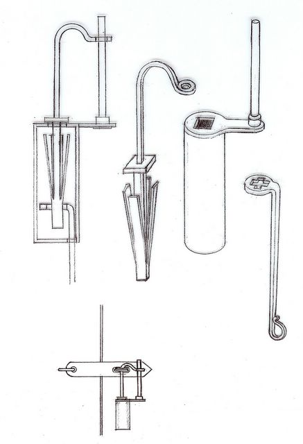Sketch of a Viking-Era padlock with springs and turning key