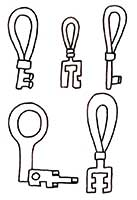 Reconstructed iron keys from Helgö, 8th–9th C. They were used in turn-key locks and sliding bolt locks.