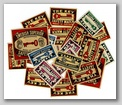 Swedish and Czech matchbox labels from the early 20th century.