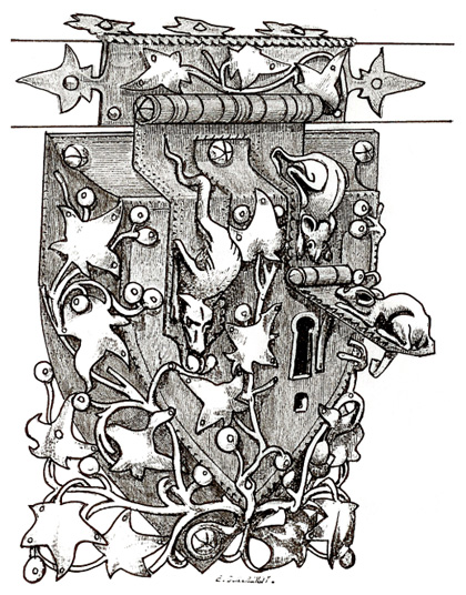 Gothic double drop fork lock. The keyholes are guarded by two mice and a dragon. Dictionnaire du Mobilier Francais. E. E. Viollet-le-Duc, 1809