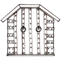 The gable of a medieval chest with a gambrel roof-type lid.