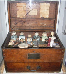 Medicine chest in the Gothenburg Marine Museum.