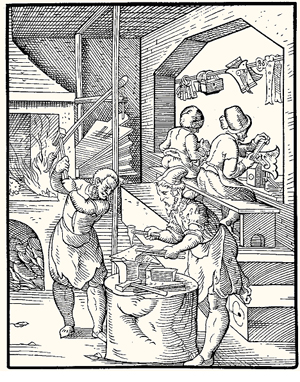 Locksmiths at work in the sixteenth century. Engraving