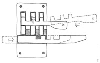 Swedish wooden pin tumbler lock with wooden key and bolt. Sketch by the author