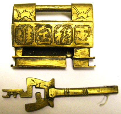 Slide-key lock of cast brass. Photo by the author.