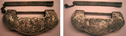 "Aluminum ""wedding lock"" with ornamentation in relief. Both sides shown. Photos by the author."