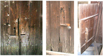 "Three doors from the old Ming city Yangmeizhan, 30 km NE of Nanning in Southern China, with ""keyholes"" through which the bar on the inside of the door is moved. The hinges of the doors consist of a wooden dowel at the top and bottom. Photos by the author."