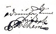 Christopher Polhem's signature from a letter that he wrote in 1718 (the Swedish National Archives).