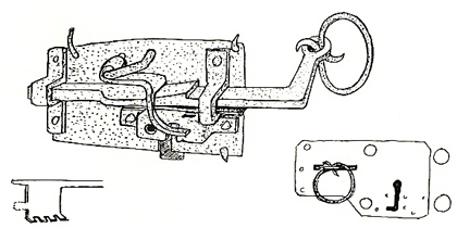 "A short version of a pull lock. Sketch in ""Låset förr och nu""."