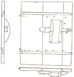 Pull lock with the mechanism built into a half woodstock. A door to a sleeping loft from the late Middle Ages in Idbäck, parish of Malung, Dalarna. Sketch in Folk-liv 1942.