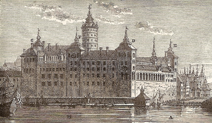 The old Tre Kronor castle in Stockholm, with the central tower in the middle.