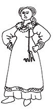 A Viking-Era woman with key and scissors.