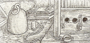 Leg shackle with chain and padlock. Detail of a picture from Nuremberg, Germany, 1517.