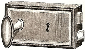 French type of door lock. Manufactured by Låsbolaget in 1898.