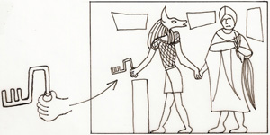 The Egyptian god Anubis (as a companion) with a Spartan key. Circa 100 AD. Sketch by the author.