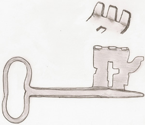 Key to a pull lock. Sketch by the author.