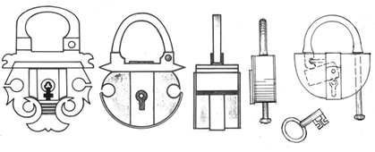 Example of the development of shield-shaped padlocks. Sketches by the author.