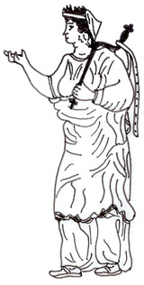 Greek woman with a bent bronze key. Sketch by the author.