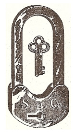 Velocipede lock with extra long shackle, in the Åhlén & Holm 1899–1909 anniversary catalogue.